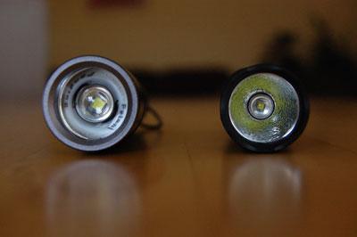 Frontansicht LED Lenser M1 (links) und Fenix PD 20