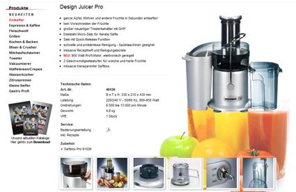 Screenshot Gastroback 40126 Entsafter Design Juicer Pro 950 Watt