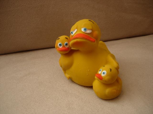 Badeente mit Zwillingen für das Baby