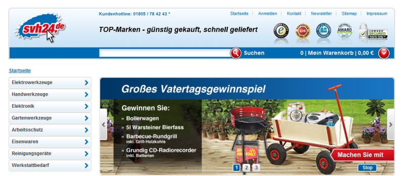 Screenshot der Website des Werkzeugonlineshops svh24.de