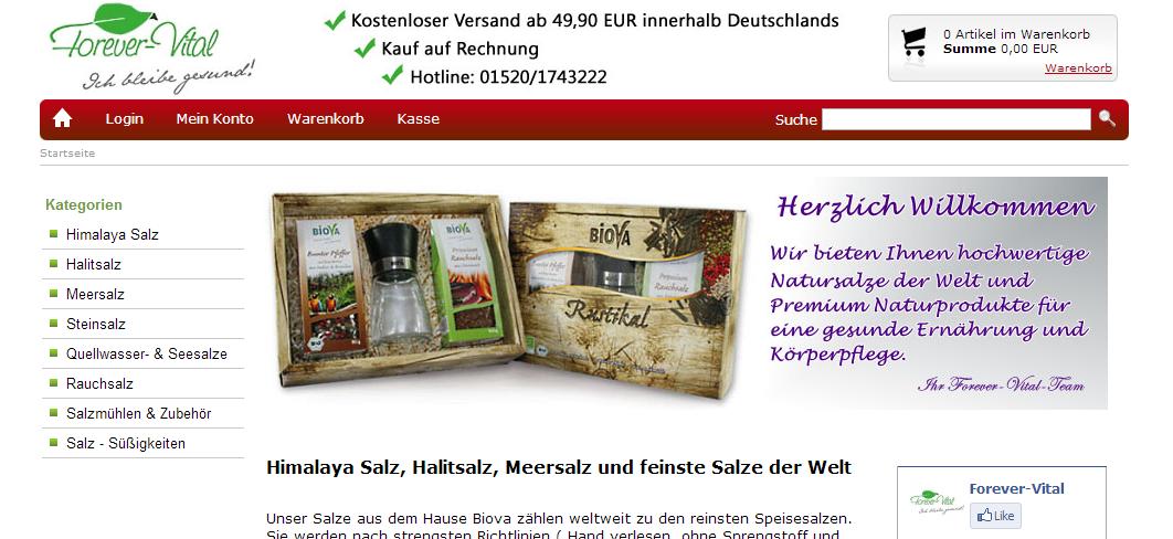 Onlineshop für Salze - forever-vital.de