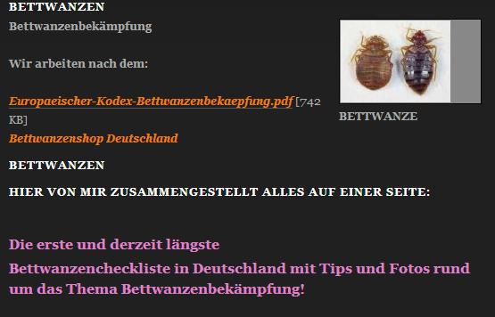 Webseite von ungezieferabwehr.de zur Bekämpfung von Bettwanzen