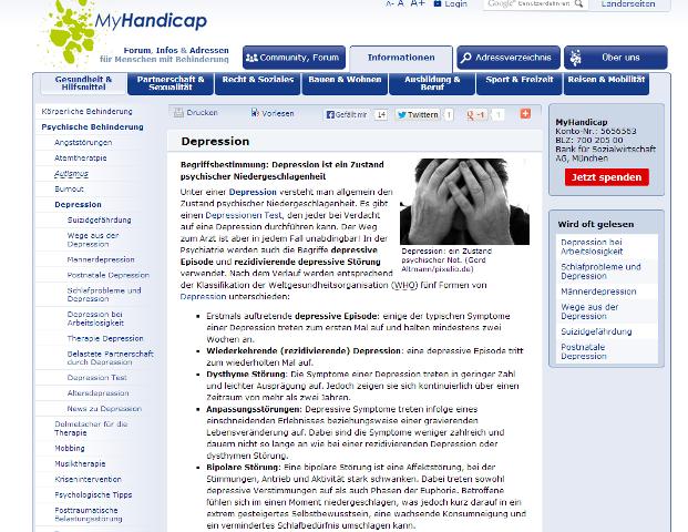Website von myHandicap.de zu Depressionen
