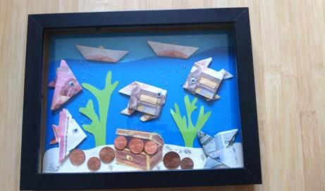 Geldgeschenk: Bilderrahmen mit Geldfischen