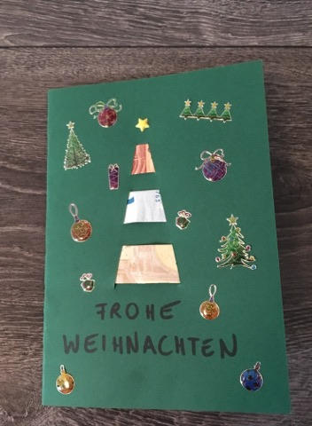 Geldgeschenk zu Weihnachten: Tannenbaumkarte